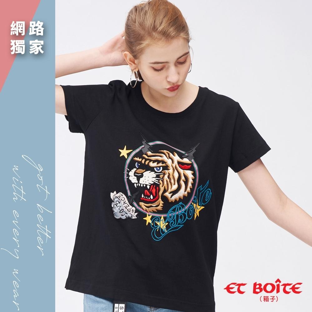 ETBOITE 箱子 刺繡虎頭圓領TEE(黑)