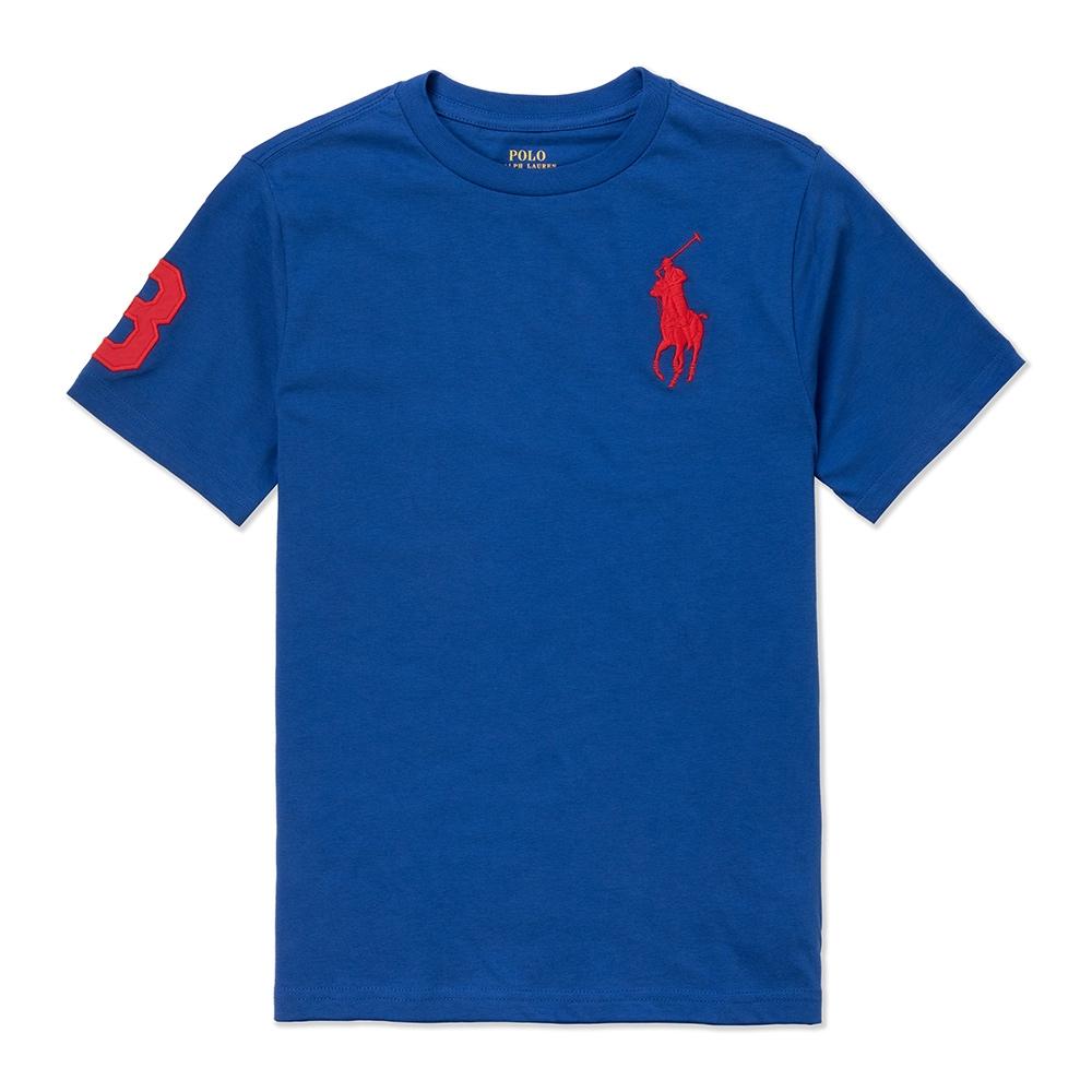 Polo Ralph Lauren 年度熱銷刺繡大馬素面短袖T恤(青年款)-寶藍色