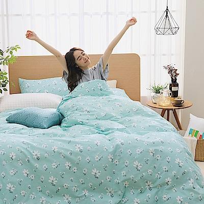 GOODDAY-小花-100%純棉-兩用被床包組(綠-加大)