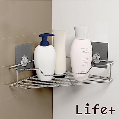 [團購2入組] Life Plus 環保無痕魔力貼掛勾-單層角落架/三角置物架