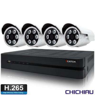 奇巧H.265 4路5MP iCATCH監控組含SONY1080P200萬鏡頭*4