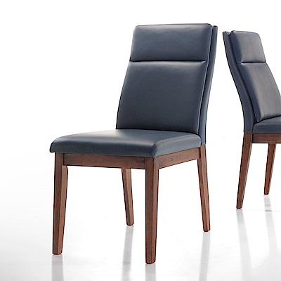 AS-泰絲胡桃深藍皮餐椅-50x64x100cm