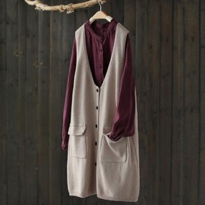 中長版無袖針織衫馬甲外套寬鬆上衣背心馬夾-設計所在