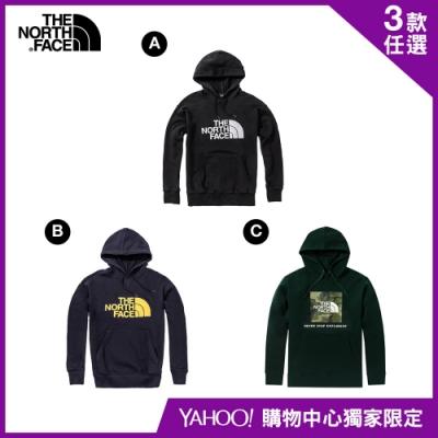 【The North Face】YAHOO限時優惠-北面男女款經典百搭連帽大學T(3款任選)