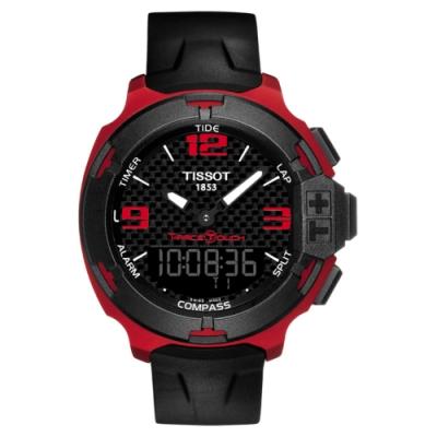 TISSOT T-RACE鋁合金碳纖維觸控錶(T0814209720700)-紅/42mm