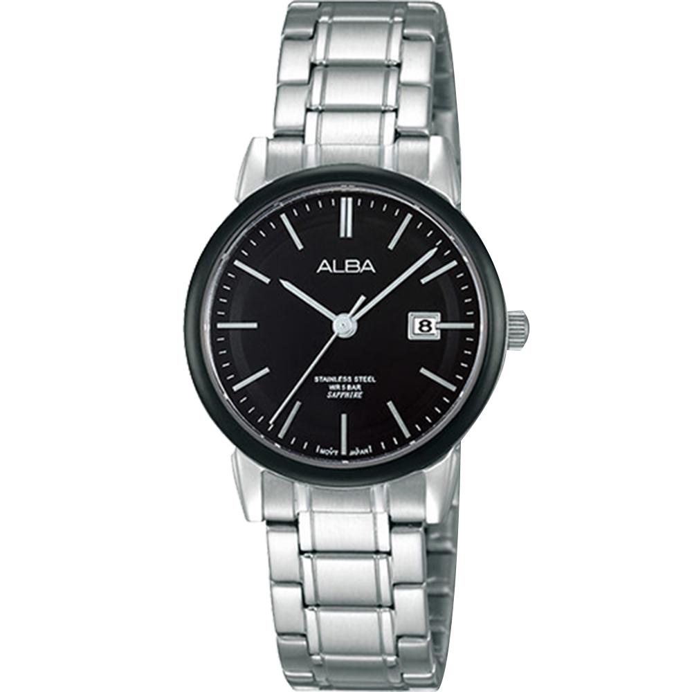ALBA 日系時尚 輕巧日期女錶(AH7E67X1)-銀x黑/28mm