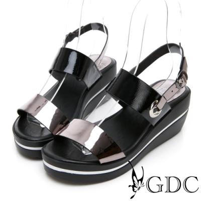 GDC-春夏漆皮一字側扣環拼接楔型涼鞋-灰色