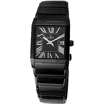 CLOIE 相愛在羅馬 時尚方型女錶-黑/25mm