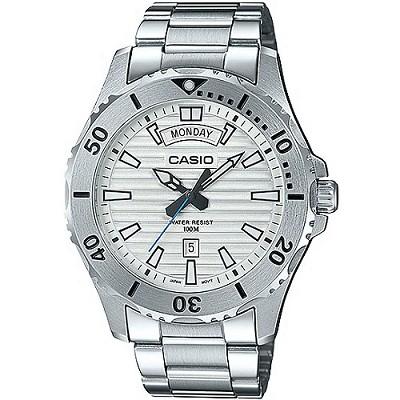 CASIO 城市獵人銀光大刻度都會不鏽鋼男錶-白(MTD-1087D-7A)/40mm