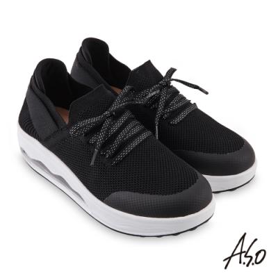 A.S.O 機能休閒 活力雙核心綁帶造型網布氣囊休閒鞋-黑