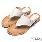 DIANA 摩登時尚-蜥蜴紋牛皮夾腳平底涼拖鞋-米