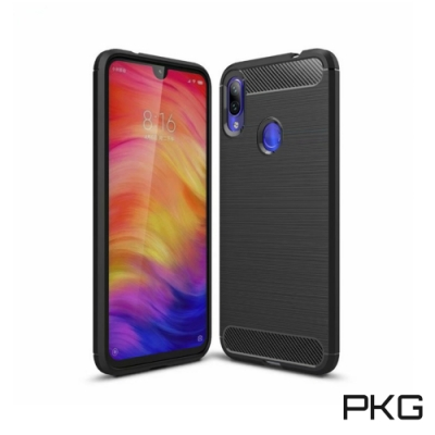 PKG For:紅米Note7手機殼時尚碳纖紋路+抗指紋