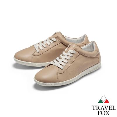 TRAVEL FOX(女)  晨曦的陪伴  柔軟牛皮綁帶低筒運動休閒鞋-青春棕