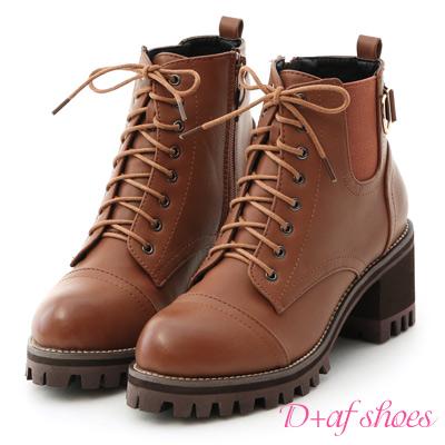 D+AF 勁酷作風.個性綁帶高跟厚底短靴*紅棕