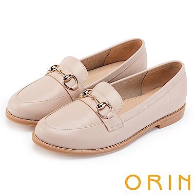 ORIN 復古樂活主義 金屬飾釦牛皮平底鞋-粉裸