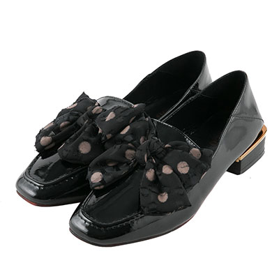 BESO 輕漾甜心 點點蝴蝶結2way樂福鞋~黑