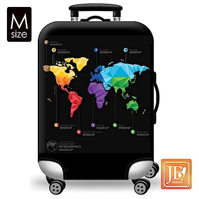 繽紛行李箱套-世界地圖M