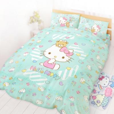 享夢城堡 雙人床包涼被四件組-HELLO KITTY 糖果熊-粉.綠