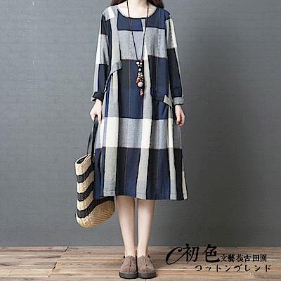 時尚舒適格子連衣裙-共3色(L-2XL可選)   初色