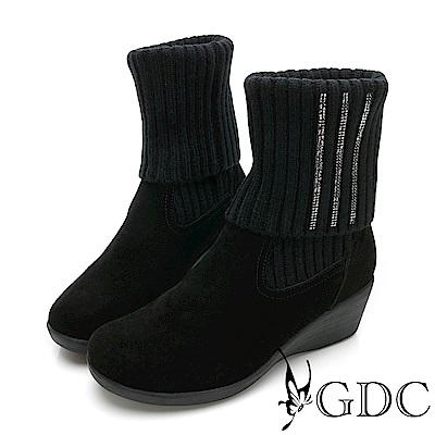 GDC-真皮基本素面側鑲鑽楔型襪靴-黑色