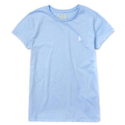 Polo Ralph Lauren 經典小馬素面短袖T恤(女)-淺藍色