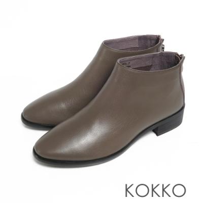 KOKKO極簡率性小牛皮後拉鍊粗跟踝靴軍綠色