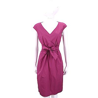 Max Mara-WEEKEND 蝴蝶結抓褶設計紫色V領洋裝
