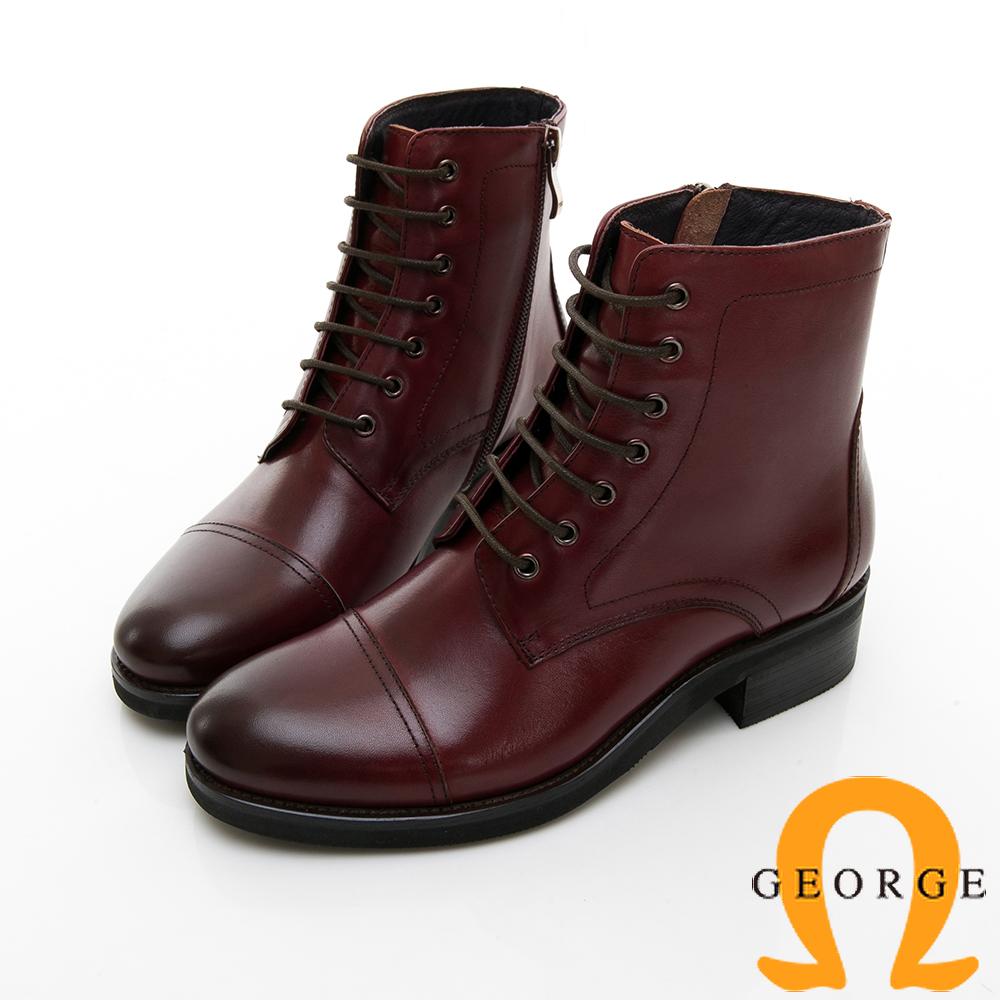 【GEORGE 喬治皮鞋】復古英倫風牛津素面繫帶短靴-酒紅色