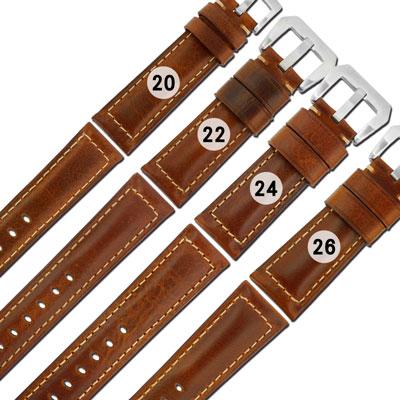 Watchband / 各品牌通用經典復刻百搭款厚實柔軟真皮錶帶-黃褐色