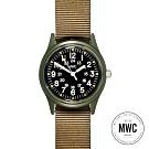 MWC瑞士軍錶 1960經典/70年代 美國軍事越南模型 卡其款 -黑色/33mm