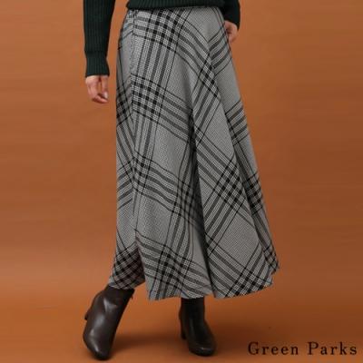 Green Parks 斜格交錯設計打褶長裙