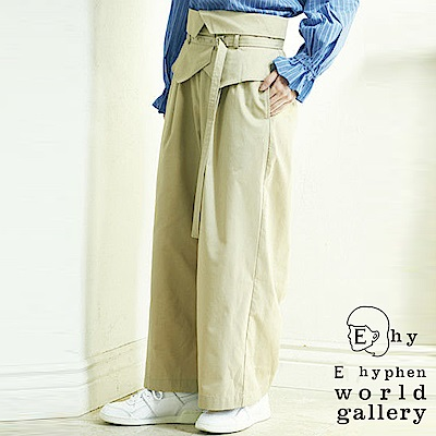E hyphen mer 6月號掲載-高腰褶邊設計寬褲附腰帶-深藍色