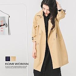 【KOMI】質感緞面棉雙排釦風衣外套