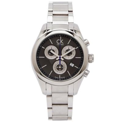 CK Calvin Klein 三眼計時不鏽鋼錶帶手錶(K0K28107)-灰黑色面x銀色/38mm
