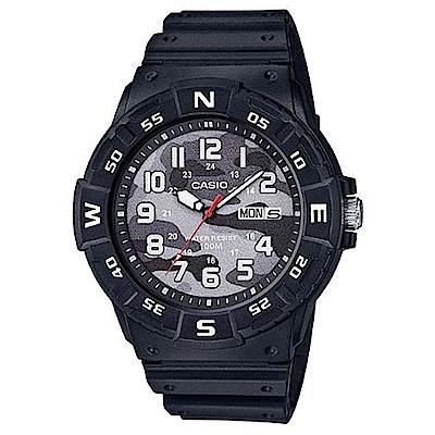 CASIO 潮流迷彩風潛水設計運動指針錶(MRW-220HCM-1B)黑/47.9mm