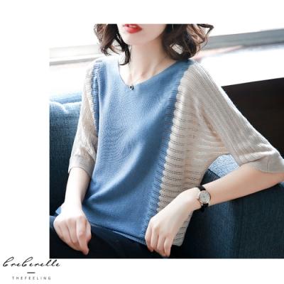 2F韓衣-韓系雙色拼接連袖造型針織上衣-3色-認(F)