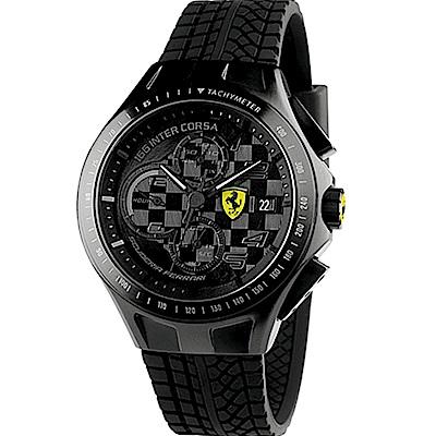 Scuderia Ferrari 法拉利黑色旋風三眼賽車錶(FA0830105)-44mm