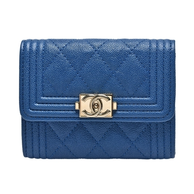 CHANEL BOY系列菱格粒紋牛皮復古金釦壓邊暗釦信用卡夾/零錢包(藍色)