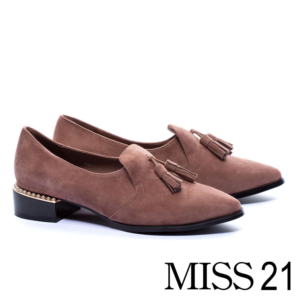 跟鞋 MISS 21 英倫流蘇珍珠點綴羊麂皮樂福低跟鞋-粉 @ Y!購物