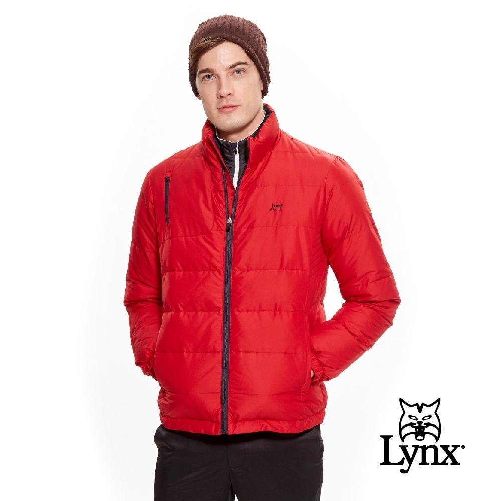 【Lynx Golf】男款小山貓LXG系列羽絨長袖外套-紅色
