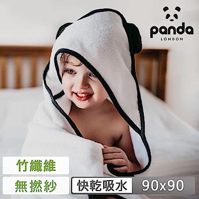 【英國Panda】兒童連帽無捻紗浴巾90x90cm(吸水蓬鬆超舒柔)