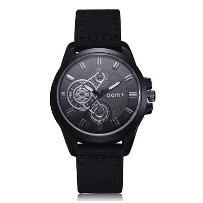 Watch-123 經典美式復古仿機械軍風帆布手錶 (2色任選)