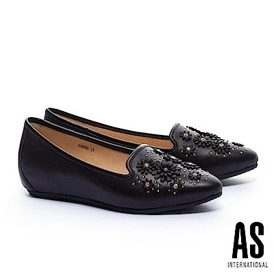低跟鞋 AS 立體花朵造型全真皮內增高樂福低跟鞋-黑