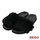 BESO 萌味席捲 蓬鬆緻密兔毛毛絨拖鞋~黑