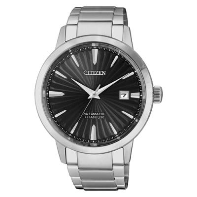 CITIZEN  GENT S鈦金屬魅力四射機械腕錶-銀X黑(NJ2180-89H)