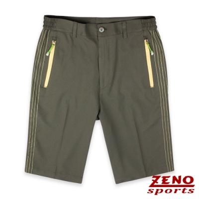 ZENO 機能快乾四面彈金色織線短褲‧深卡其