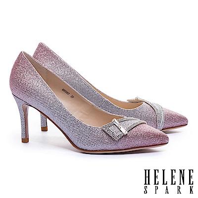 高跟鞋 HELENE SPARK 迷人璀璨鑽飾釦漸層金蔥尖頭高跟鞋-粉