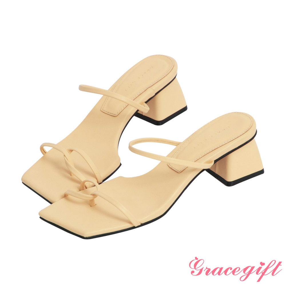 Grace gift-雙細帶套趾中跟涼拖鞋 淺黃
