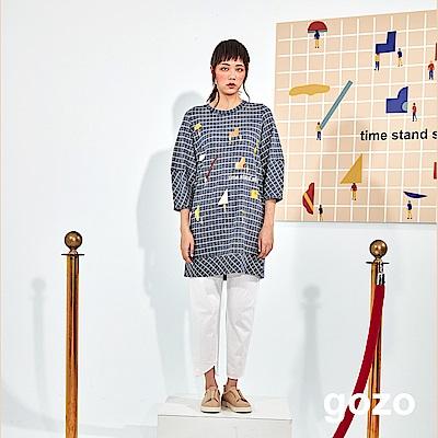 gozo 博物館色塊人物方格長版上衣(二色)