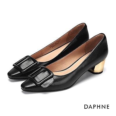 達芙妮DAPHNE 高跟鞋-方釦真皮金屬色高跟鞋-黑
